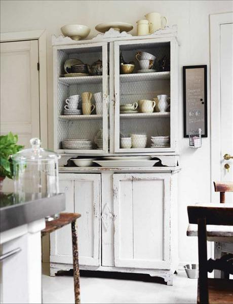 Shabby chic flatware storage cupboard- interior design and home decorating ideas