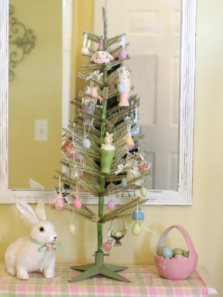 Small Easter tree and a porcelain bunny – home decorating ideas for funny and joyful atmosphere