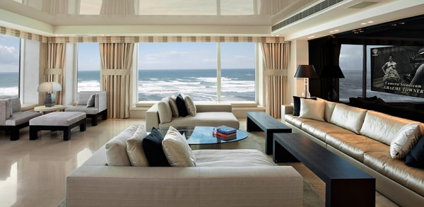 Spacious living room with fantastic sea views