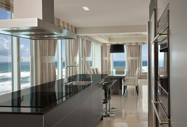 Spacious open plan kitchen with views over the sea