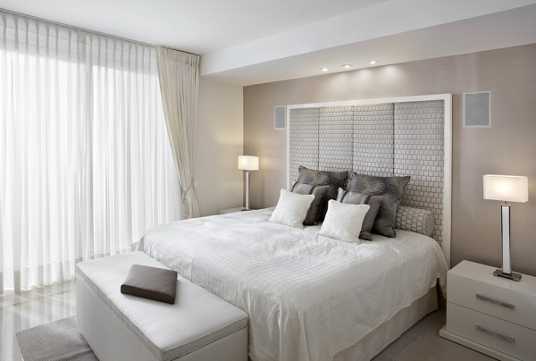 Stylish guest bedroom in white