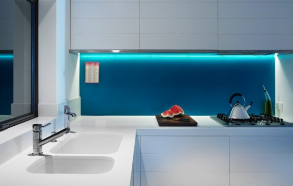 Styslish Minimalist White Kitchen With Led Lighting Contemporary