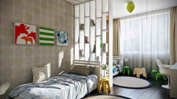 Sunny kids room with twin beds- interior design and decoration ideas for children living areas