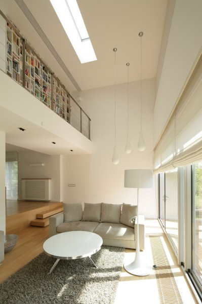 Sunny living room with heigh ceiling-Contemporary House Architecture and Interior Design in Poland