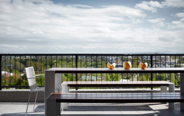 Sunny terrace with simple and stylish patio furniture-Contemporary Luxurious Penthouse Interior Design in Australia