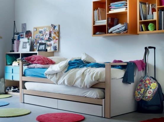 Teen bedroom with flexible bed-modern interior design ideas by Nueva Linea.