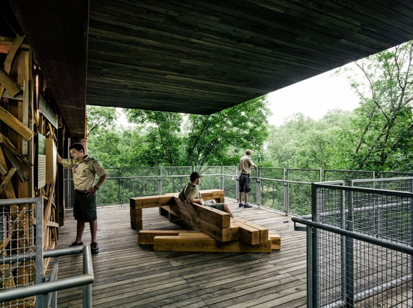 Terrace on the second floor-Forest Treehouse Displaying Sustainable Architecture