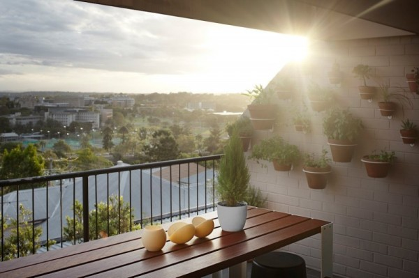 Terrace on the second level overviewing the park nearby-Contemporary Luxurious Penthouse Interior Design in Australia