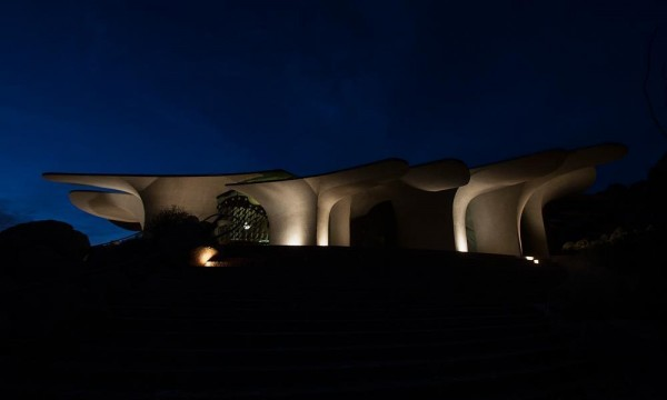 The contemporary house's silhouette at night-Organic Desert Residence - Architecture and Interior Design