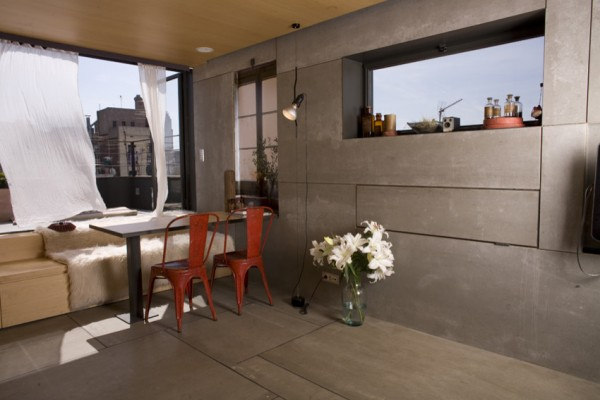 The dining area when the bed is folded-Small Apartment Interior Design in Barcelona