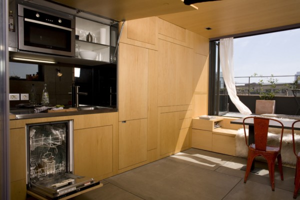 The flexible kitchen with all the appliances-Small Apartment Interior Design in Barcelona
