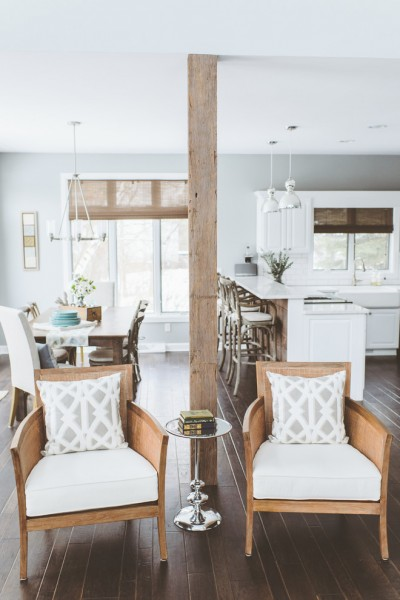 The kitchen and the dining table- Eclectic Rustic Cottage Interior with Summer Beach Style Touches