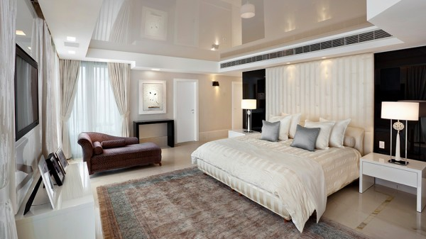 The master bedroom with its stylish furniture