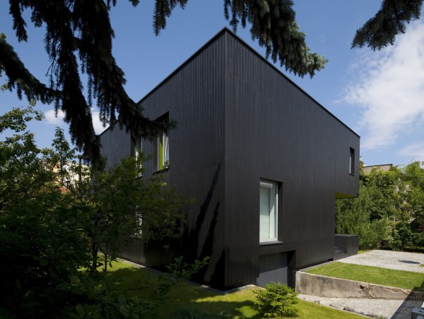 The modern facade when viewed from the street-Contemporary House Architecture and Interior Design in Poland