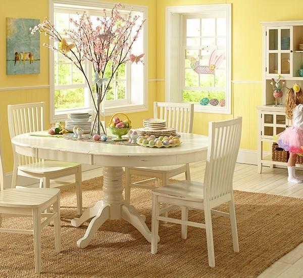 Traditional Easter table in white
