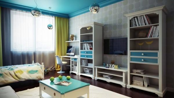Traditional kids room in blue- interior design and decoration ideas for children living areas