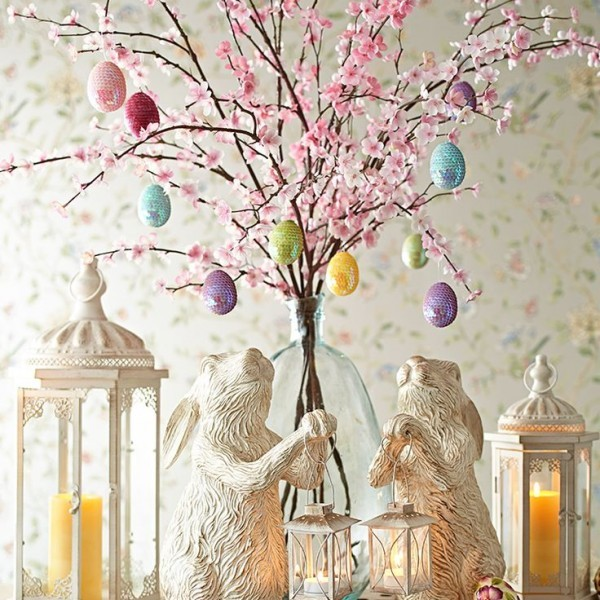 Very elegant Easter arrangment of bunnies, tiny tree and lanterns
