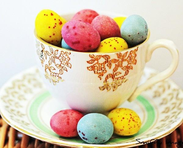 Vivid colorful eggs in a tea cup