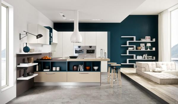 White and blue inspired kitchen