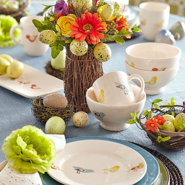White kitchen flatwared and Easter table centerpieces