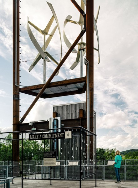 Wind turbines for generating electricity-Forest Treehouse Displaying Sustainable Architecture