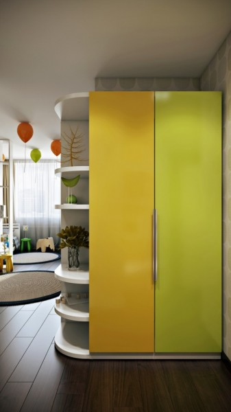 Yellow and green colored kids room wardrobe- interior design and decoration ideas for children living areas