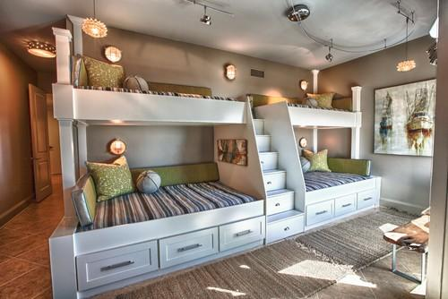 Amazing kids room design with four beds and ladder between them
