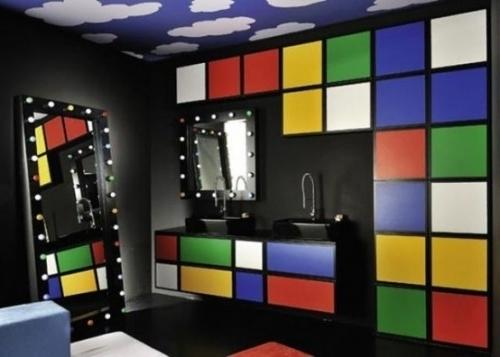 Bathroom decorating with wall design in colorful cubes