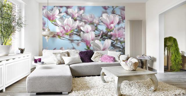 Beautiful flower printed wallpaper– for amazing living room interior design