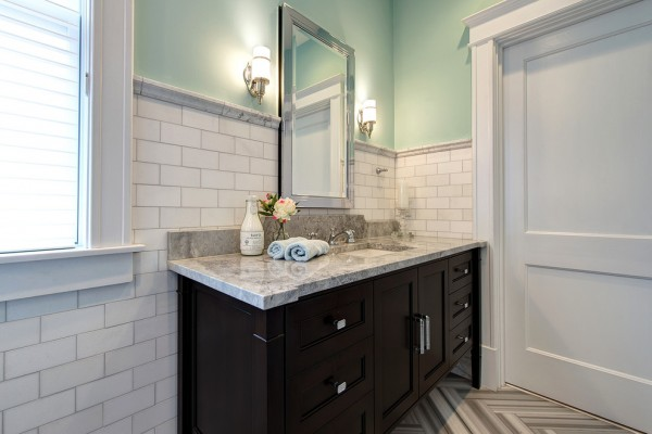 Beveled Mirrors And Recessed Medicine Cabinets Modern Art Deco Bathroom Design In A Victorian Home