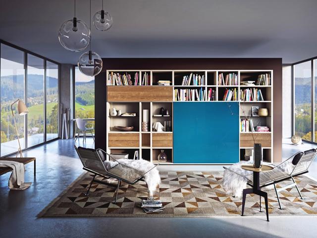 Blue colored cupboard door– for amazing living room interior design