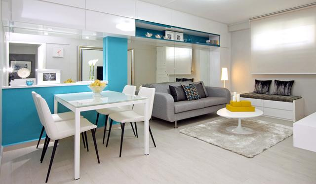 Blue wall for a lucky atmosphere– for amazing living room interior design