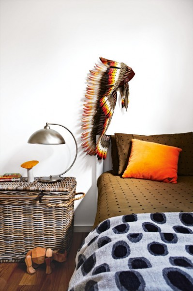 Colorful accents in a small bedroom