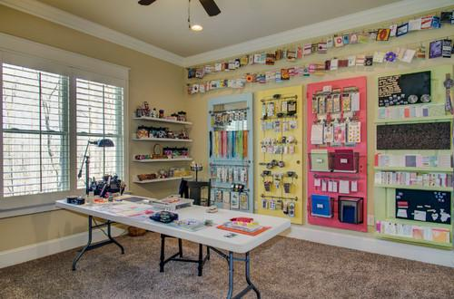 Colorful room separated for work- personal office design ideas