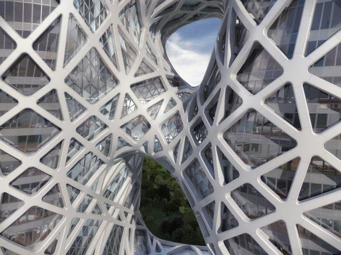 Connections between the two main towers- Creative Modern Architecture by Zaha Hadid