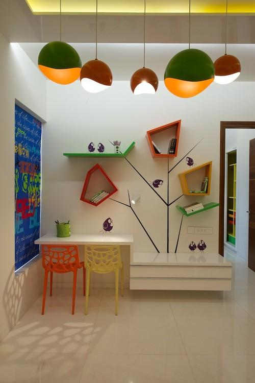 Creative kids room with various decorations and colorful accents