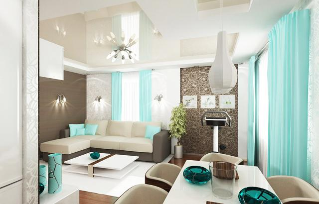 cyan curtains cushions and bows for amazing living room interior design - Cyan Living Room Decor