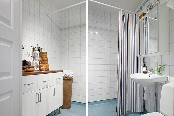 Details from the stylish shabby chic bathroom- Scandinavian Shabby Chic Apartment Interior in Gothenburg