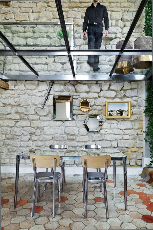 Dinning room with transparent glass ceiling- Apartment Interior Design in Paris