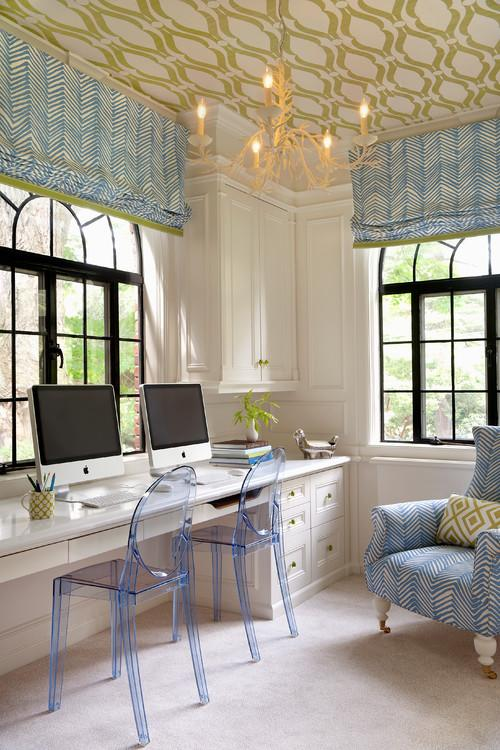 Dual working desk in a traditional home- personal office design ideas