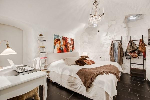 Eclectic bedroom with modern wall art- Greek Interior Design Style in White