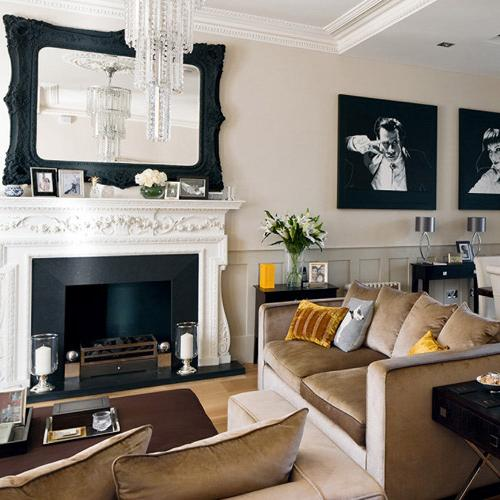 Eclectic living room with classic fireplace-modern interior design trends