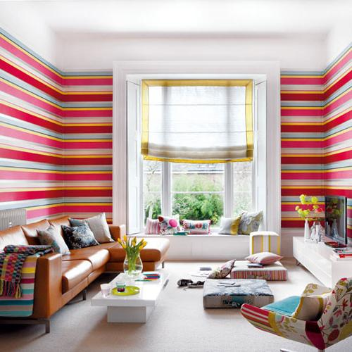 Eclectic room in red bright colors-modern interior design trends