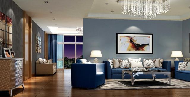 Elegant dark blue furniture– for amazing living room interior design