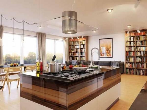 Fantastic huge kitchen island in wood-effective interior design solutions
