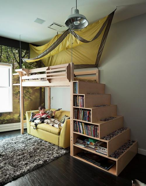 Functional kids room design with bed and sofa below it