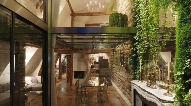 Glass between the rooms- Apartment Interior Design in Paris