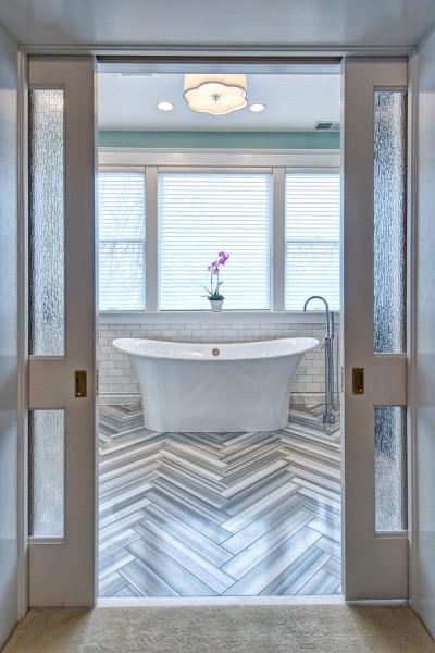Herringbone floor pattern- Modern Art Deco Bathroom Design in a Victorian Home