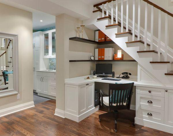 Home staircase and desk placed below it