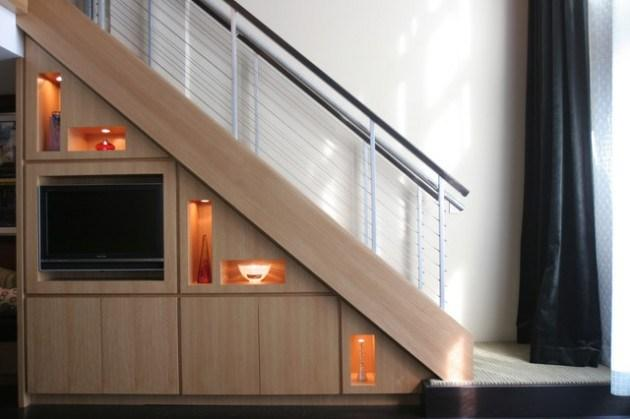 Home staircase in a stylish modern home